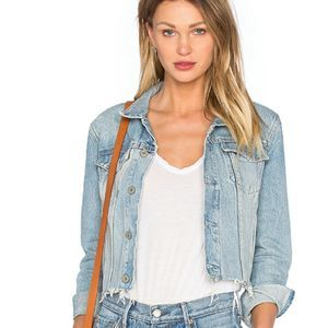 Grlfrnd NWT Cara Light Wash Raw Edge Denim Jacket